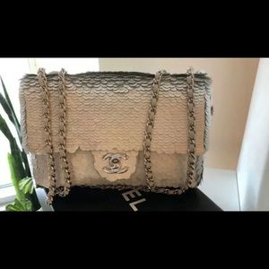 Authentic CHANEL Silver Sequin Paillete Small Flap